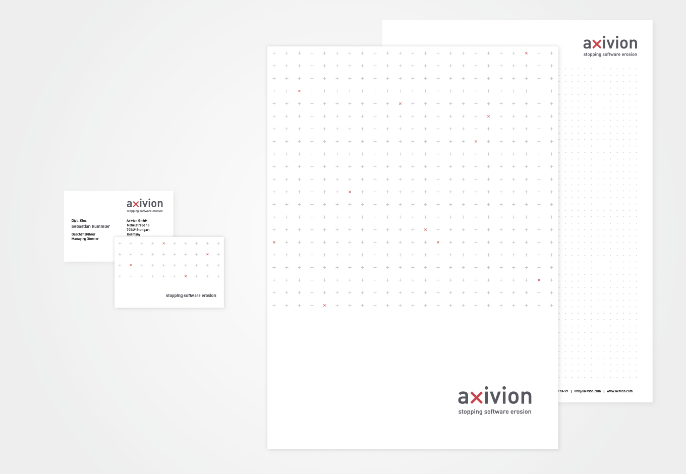 Corporate Design für axivion, quintessence design Stuttgart