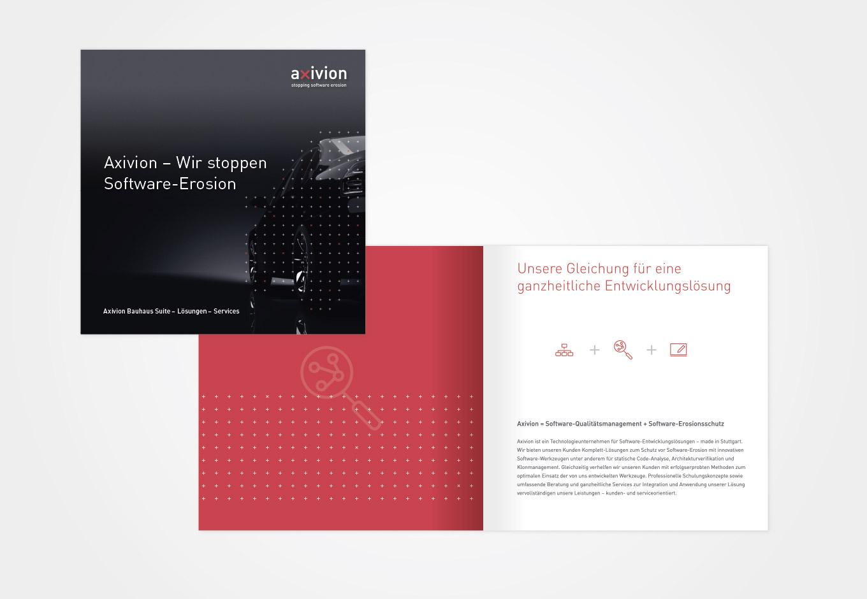 Broschüre für axivion, quintessence design Stuttgart