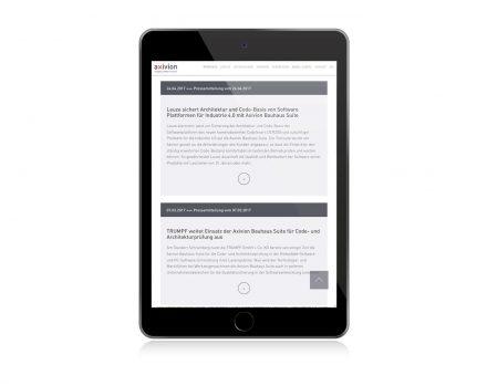 Webdesign axivion, quintessence design Stuttgart
